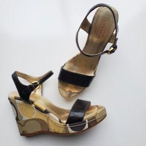 Coach Platform Wedge Heel Strappy Sandals
